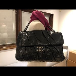 Chanel Pleated Leather XL Maxi Flap Bag